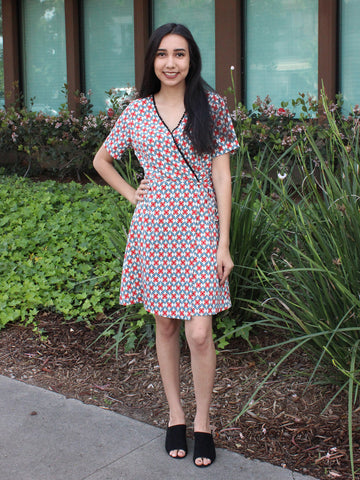 Red Crossover Front Print Dress