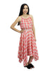 Coral Plaid Trapeze Maxi Dress