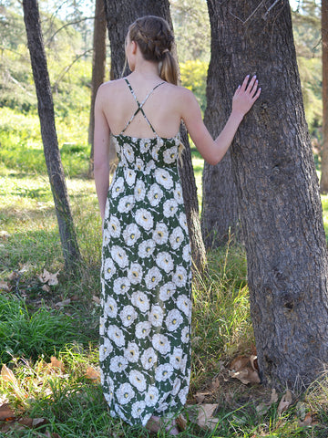 Green Floral Double Slit Maxi Dress