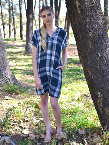 Navy Plaid Collared Dress