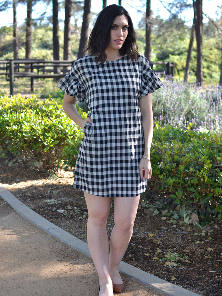 Black Gingham Ruffle Sleeve Dress