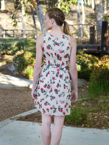 RED FLORAL SLEEVELESS DRESS