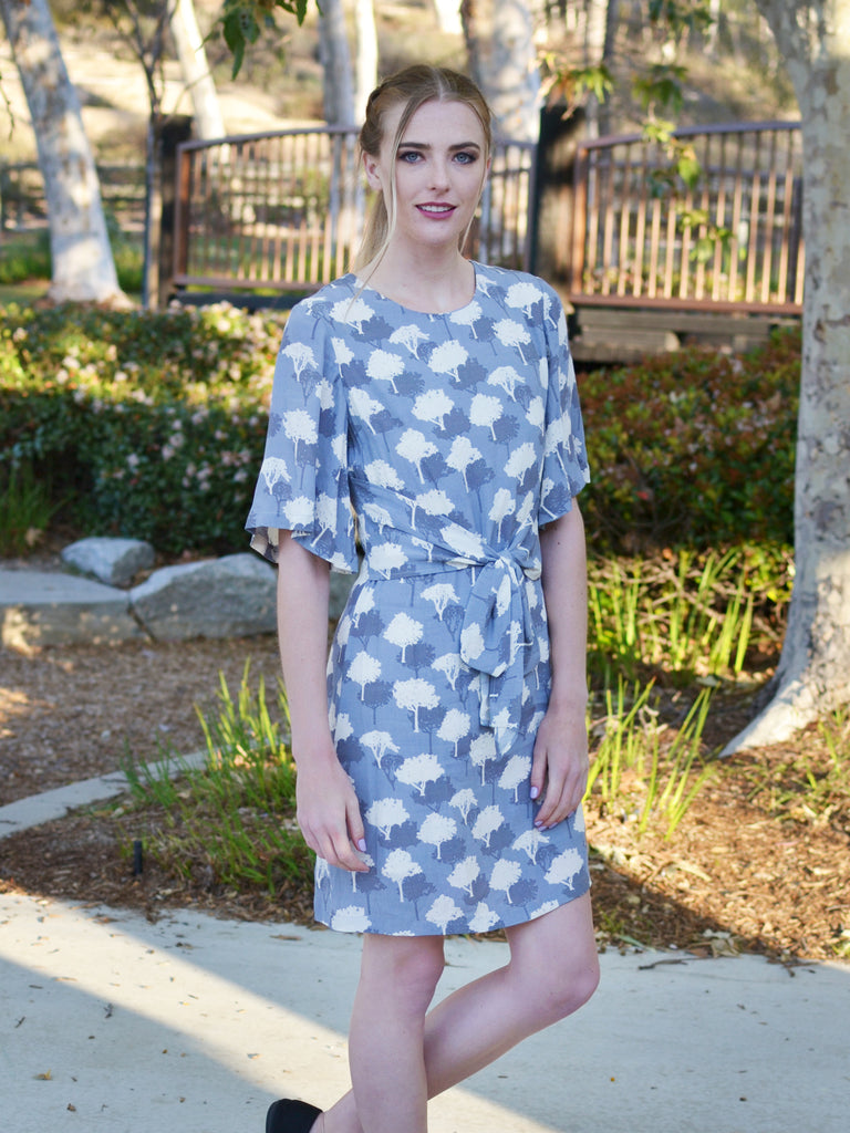 Grey Slate Print Dress with Front Tie