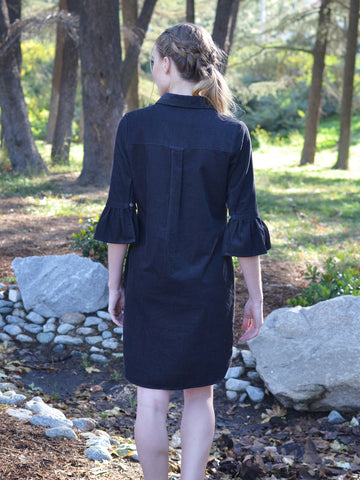 BLACK CORDUROY DRESS WITH RUFFLE SLEEVES