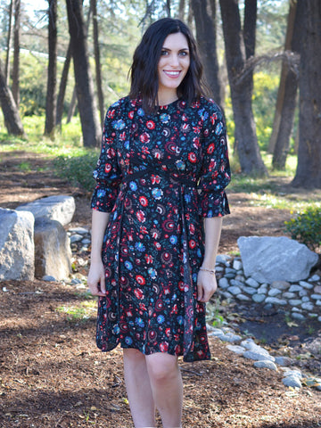 BLACK AND RED FLORAL PRINT DRESS