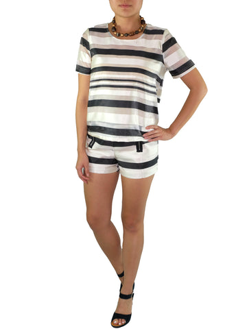 JOA Sateen Striped Top
