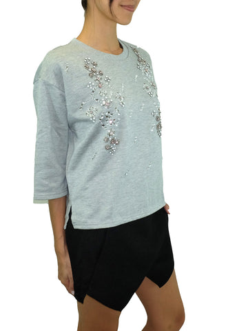 JOA Bejeweled Heather Grey Sweatshirt
