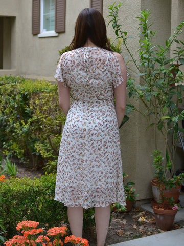 White Red/Brown Floral Dress