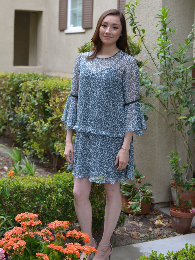 Blue Bell Sleeve Print Tunic Dress