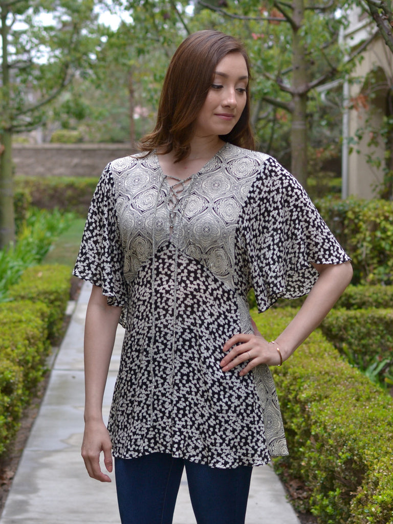 Black Butterfly Sleeve Printed Tunic