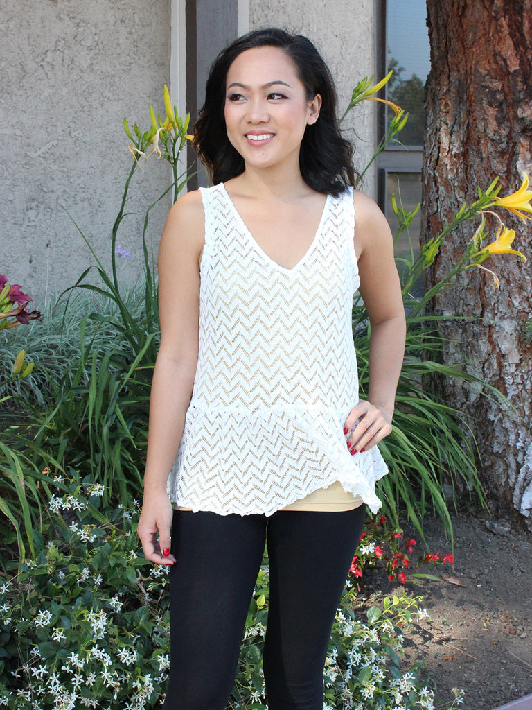 Chevron Lace Peplum Top