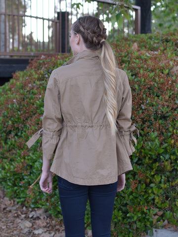 Camel Jacket with Tied Sleeves