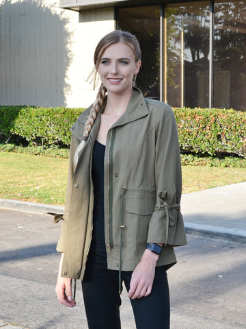 Olive Jacket with Tied Sleeves