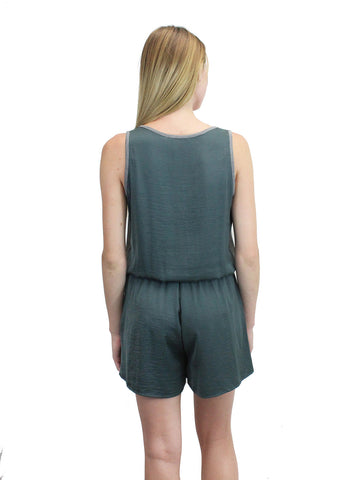 Sleeveless Smoke Green Button Up Romper