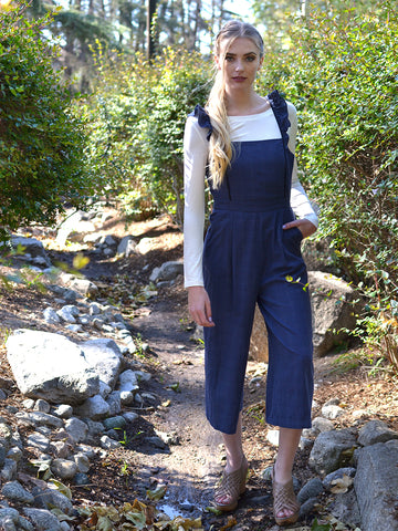 Navy Blue Stripe Ruffle Strap Jumpsuit