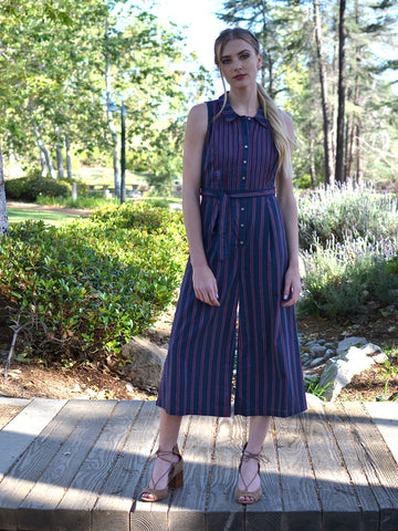 Navy Striped Tie Waist Jumpsuit