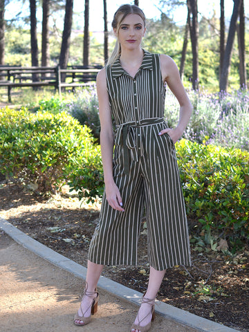 Olive Striped Tie Waist Jumpsuit