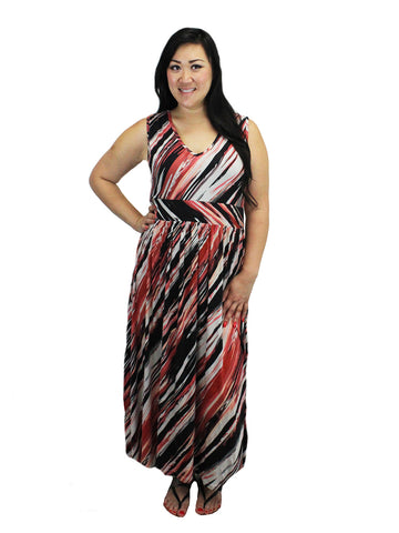 Relished Coral Multi Print Jersey Maxi Dress