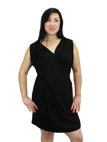 Black Ruched Crossover Jersey Dress
