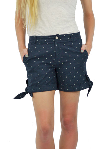 Navy Cotton Side Tie Printed Shorts
