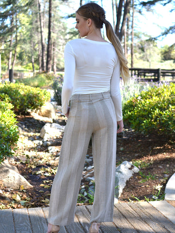 Beige Striped Linen Pants