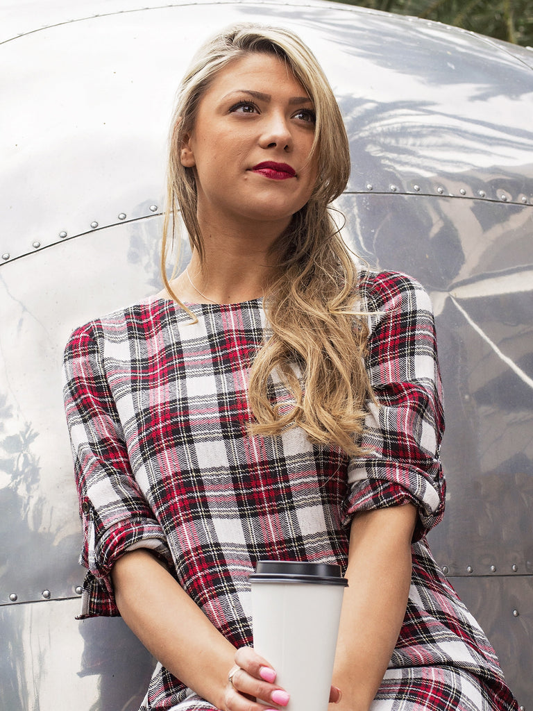Red Plaid Shirt Dress
