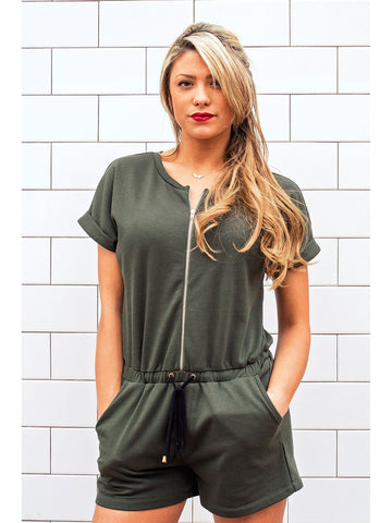 Olive French Terry Zip Romper