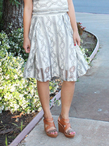 Row Lace Midi Skirt