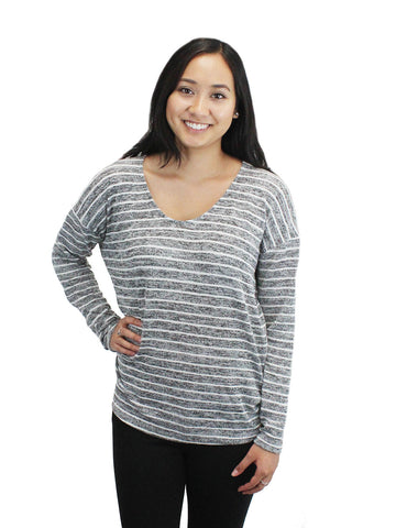 Relished Grey Striped Dolman Sweater Top