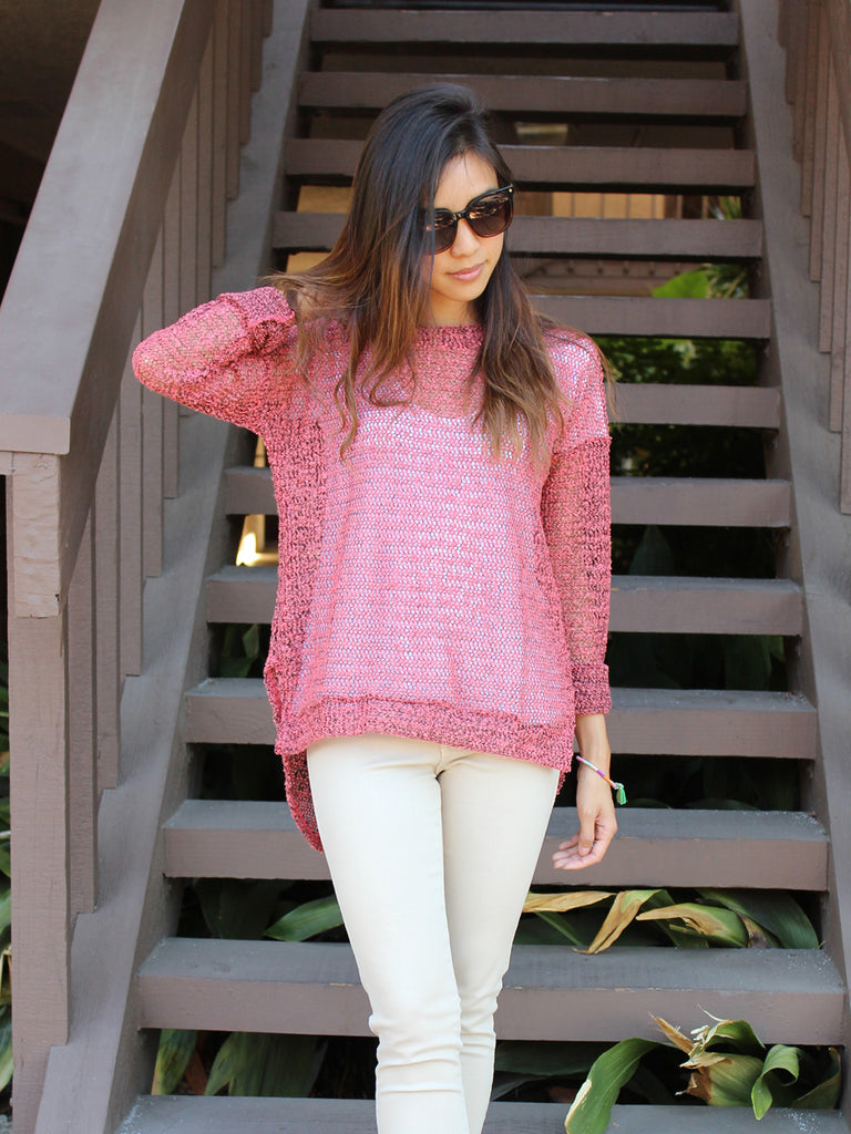 Coral Crush Long Sleeve Knit