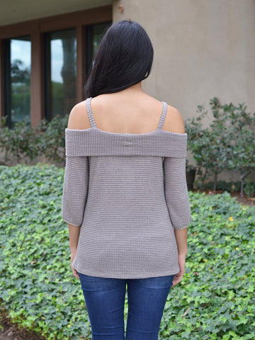 Taupe Waffle Knit Off Shoulder Top