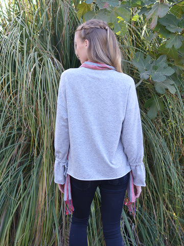 Bell Wrist Light Grey Sweater Top