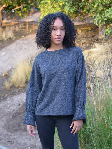 Bell Wrist Dark Grey Sweater Top