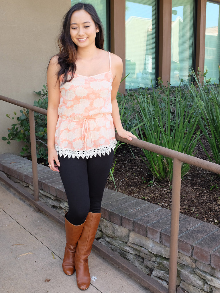 Coralite Sunflower Print Top