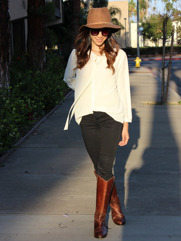 Relished Corinne Ivory Long Sleeve Blouse