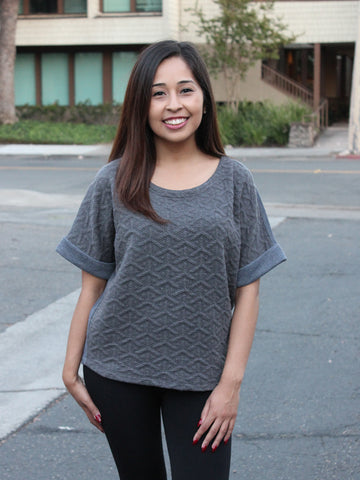 Heather Grey Geo Relaxed Sweater Top
