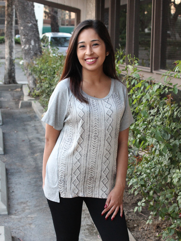 Grey Cable Knit Print Tee