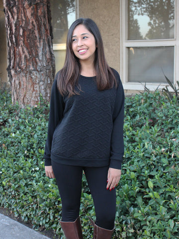 Relished Black Geo Textured Raglan Sweatshirt