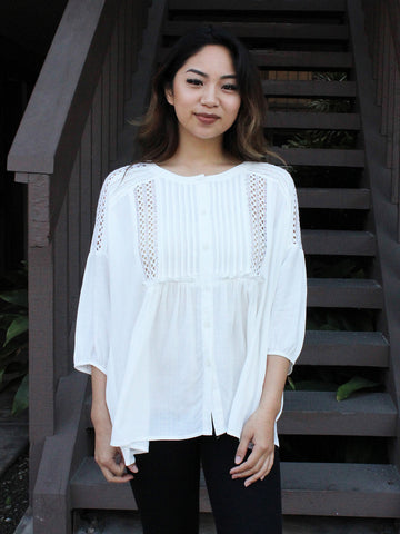 Pleated Lace Babydoll Tunic