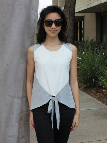 Two-Toned Front Tie Top