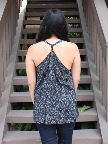 Sleeveless Black Floral Print Top