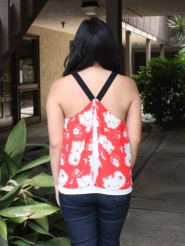 Red Floral Print Blouse
