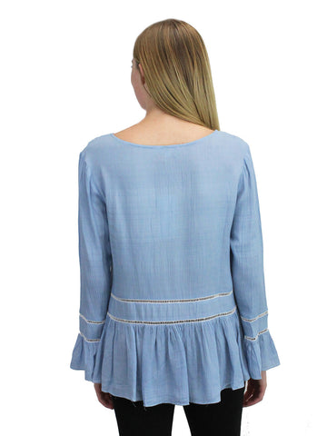 Blue Embroidered Peasant Top