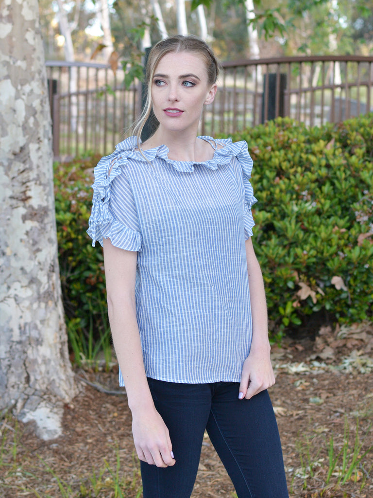Blue Striped Ruffled Top