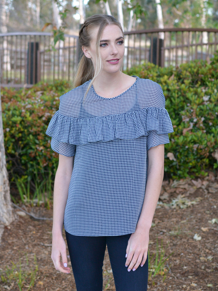 Blue Gingham Ruffle Top