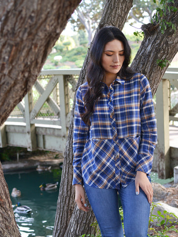 Tan Blue Plaid Top