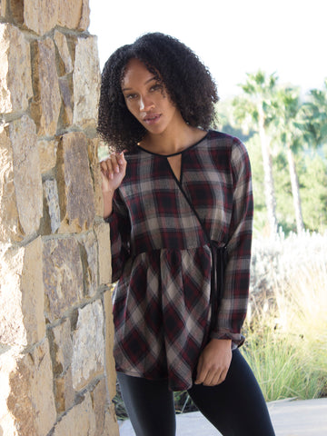 Cross-Front Red Flannel Tunic