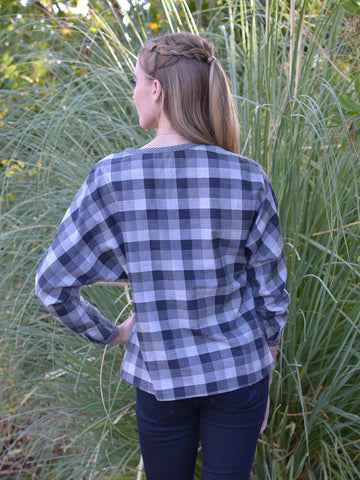 Grey Plaid Peplum Top