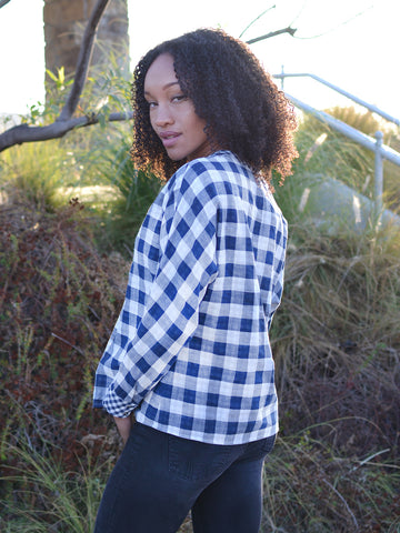 Navy Plaid Peplum Top