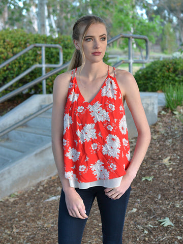 Red Sleeveless Floral Chiffon Top